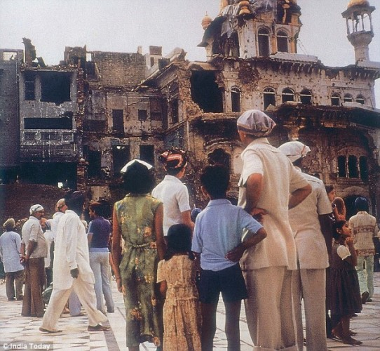 The ruins of the Akal Takht after Operation Blue Star in June 1984. (Photo Source: Sikh24)