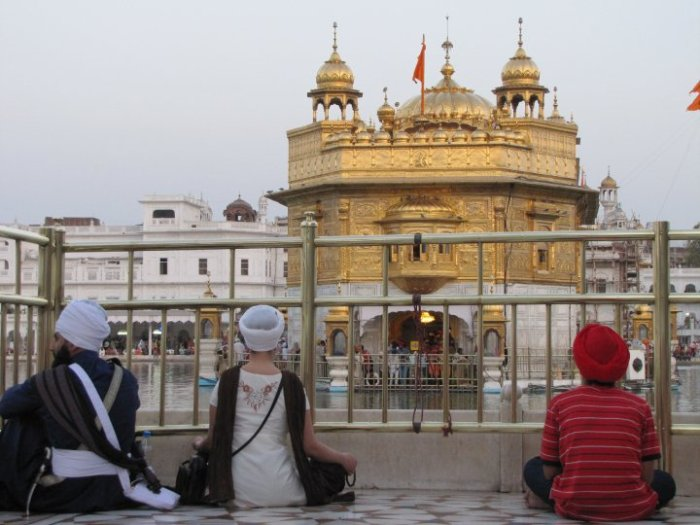 SatJot and her future husband at the Golden Temple moments before he proposed