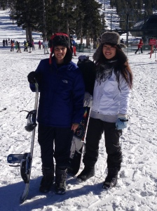Gurleen Kaur snowboarding with friends