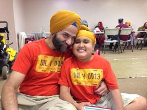 Saij with his father, Gurpreet.